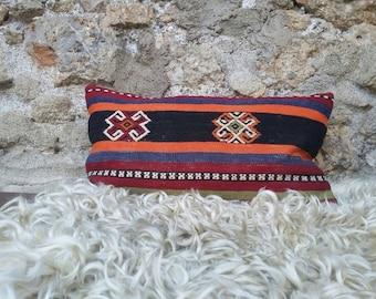 "TURKISH KILIM PILLOW...vintage kilim cover, old kilim, village made, handmade, 20""x12"", 50x30cms, quality backing and zip, free shipping!!!"