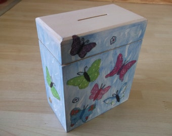 Butterfly & Flowers Hand Painted Money Box