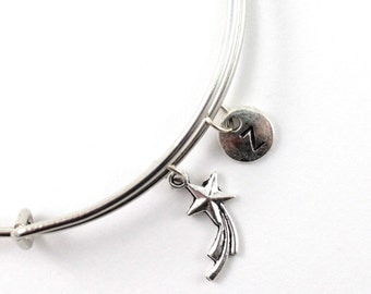 SHOOTING STAR bangle, silver tone shooting star bracelet, make a wish charm, initial bracelet, adjustable bangle, personalized jewelry, gift