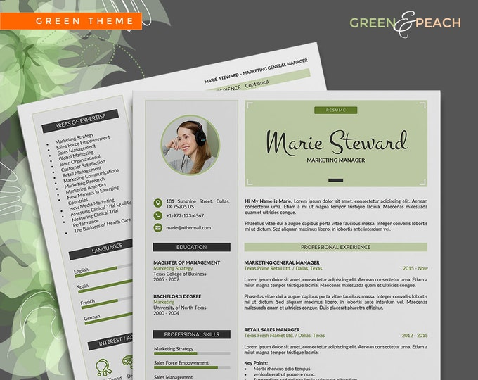 Resume template / CV Template, 3 Pages Word Resume Design and Cover Letter, Modern Resume in 2 Colors and 2 Cover Letter Designs
