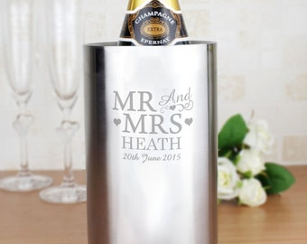 Personalised MR & MRS Stainless Steel Contemporary Wine Cooler - Wedding Anniversary EngravedGift