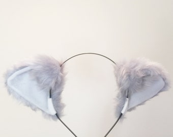 Grey Cat ears Kitty Wolf Headwear White inside  Furry Animal Headband Costume