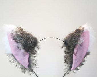 Cat ears Kitty Wolf Headwear Dark Brown Grey/Pink inside  Furry Animal Headband Costume
