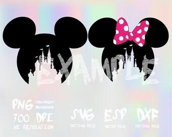 Mickey Minnie head castle ,clipart,SVG,PNG 300dpi ,ESP vector