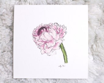 ink and watercolor purple peony print