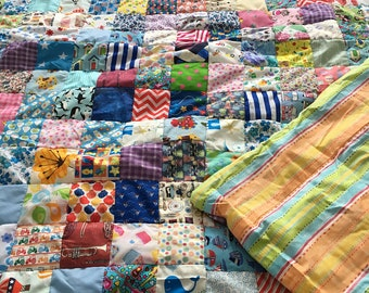 Fun and Bright Family/ Children Sized Patchwork Quilts / sofa throw/ blanket/ bed cover