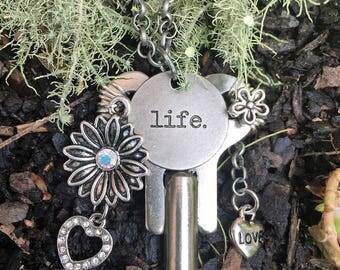 Key Necklace//Clock Key Necklace//LIFE Necklace
