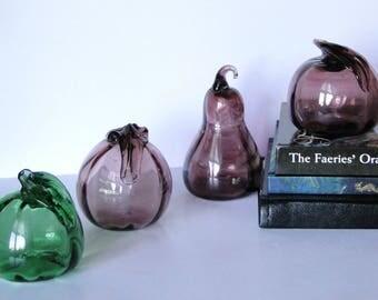 Set of Four, Vintage, Blown Glass, Fruit Decor, Glass Art, Home Decor