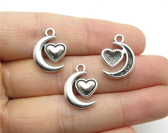 wholesale 100 Pieces /Lot Antique Silver Plated 13mmx18mm Moon heart charms