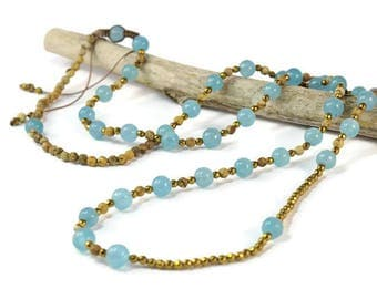 Jade Apatite Statement Necklace * Long Boho Necklace. Boho Jewelry. Boho Style. Bohemian Necklace. Ideas for her