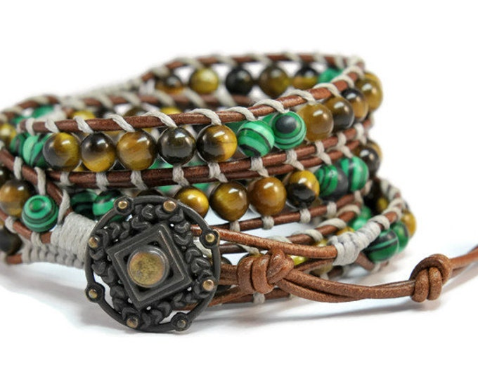 Savana * Malachite & Tiger Eye Brown Multi Leather Strand Boho Style Women  Wrap Bracelet