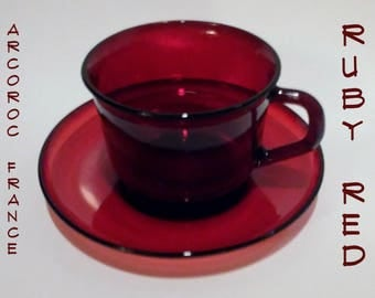 Arcoroc Ruby Red Cup and Saucer Set, Made in France, TOMBXPLAT