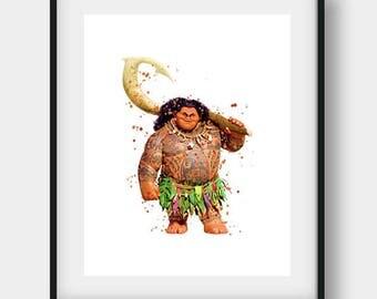 Disney Maui, Moana Maui, Princess Moana, Moana Maui Poster, Maui Watercolor, Nursery Wall Art, Disney Print, Moana Birthday, Maui Print