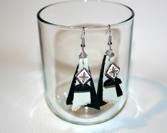 black and white leather earrings original design gift for her