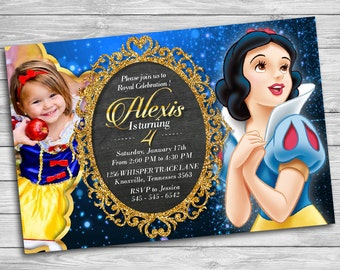 Snow White Invitation, Princess Snow White, Snow White Birthday Invitation, Snow White Birthday Party, Snow White Thank You Card | MSN_4