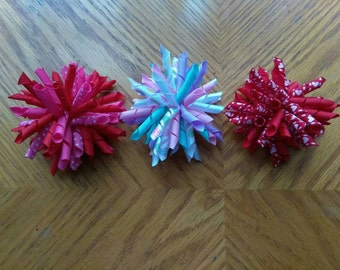 Valentine's korker hair bows, Valentine hair bows, korker hair bow, baby hair bow, curly hair bow, pink and red bows, pigtail bows