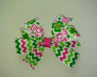 St. Patrick's day hair bow, lucky you hair bow set, St. Patty's day green hair bow