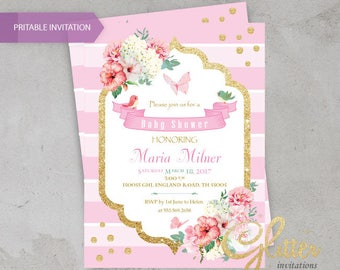 Floral girl Baby Shower invitation / Butterfly-Birds, digital invitation
