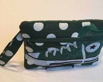 High Top Shoe Zippered Pouch, Green and White  Polka Dot Bag, Wristlet
