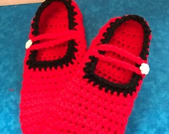 Women's Crochet Mary Jane Slippers ~ W -6/7~ Red and Black Crochet Slippers