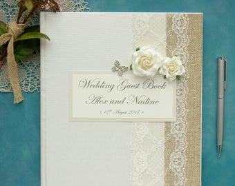 Large Luxury Personalised Wedding Guest Book - Vintage Rose & Butterfly Design Guest Book. Ivory Wedding Guest Book.