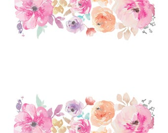 Watercolour Flower Frame Border Clip Art Digital Download PNG Vector AI High Resolution Q03 from ...