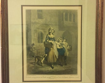 Framed Cries of London Print Two Bunches a penny,primroses, Two Bunches a penny