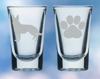 Set of 2 German Shepherd and paw shot glasses - gift - permanently etched
