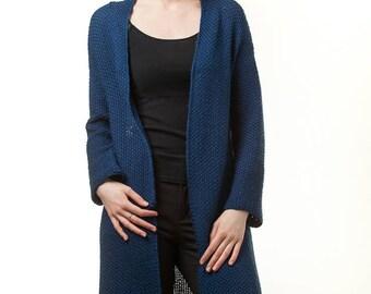 Women's clothing|Knitwear| Handmade cardigan/Wool cardigan|Cardigan|Knitted  cardigan|Long sleeves cardigan|Blue cardigan|Open|Sweater|Long