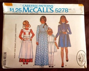 Old Fashioned Child's Dress and Apron pattern: McCall's 5278, Laura Ashley, Size 8, vintage 1976