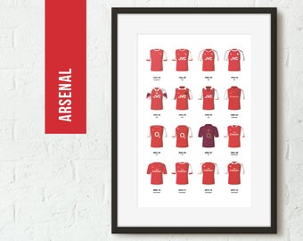 ICONIC Kits, Arsenal Print, Football Poster, Football gift, FREE UK Delivery