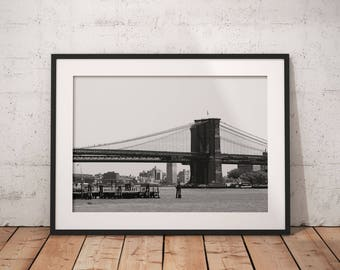 New york print, nyc print, new york photography, city print, city art, city wall art, city, new york art, black and white, brooklyn bridge