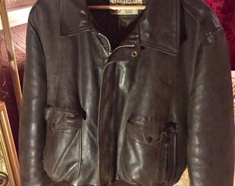 Sears Leather Shop Vintage Brown Pilot Bomber Flight Motorcycle Jacket Coat Men's Size 50