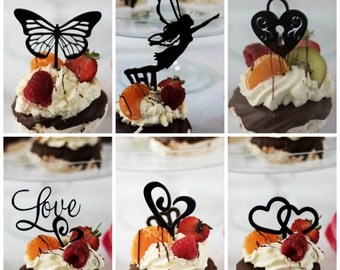Romantic Cupcake Picks, Wedding Cupcake Toppers, These Cupcake Decorations include a Butterfly Topper, Fairy Topper plus Love Hearts picks