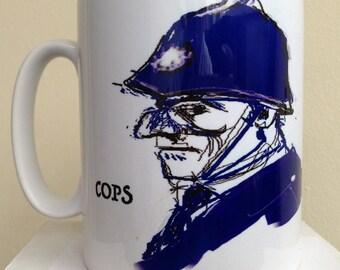 Cops and Robbers again. Tea/Coffee mug. Wrap around print from original artwork by C.C.