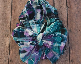 Turquoise and purple multi-colored ruffle messy bow