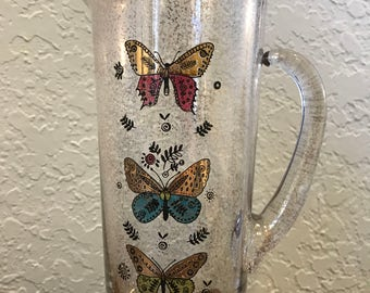 Georges Briard Butterfly Martini Pitcher/Gold Speckled Butterfly Pitcher by Georges  Briard/Mid Century Butterfly Barware Pitcher