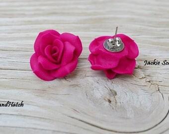 Handmade Fuchsia Rose Earrings, Free Shipping
