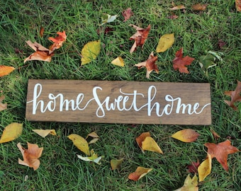 Home Sweet Home Sign | Wood Sign | Home Decor | Rustic Sign | Housewarming Gift | 24x5.5 |Little Lovely Nest