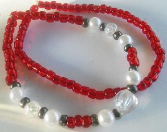 Red and Pearl Beaded Bracelet Set, Handmade