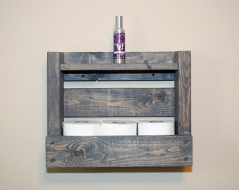 Rustic Wood Rack Shelf for Bathroom - Holds 3 Toilet Paper Rolls and Decorations