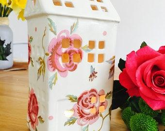 Handmade Emma Bridgewater Rose and Bee Ceramic Tealight House