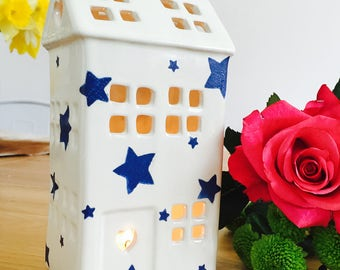 Handmade Emma Bridgewater Starry Skies Ceramic Tealight House