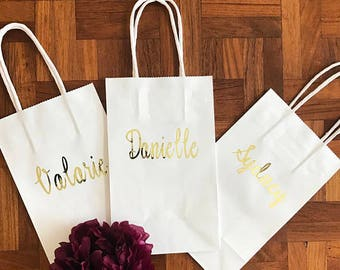 Personalized Gift Bags | Custom Gift Bags | Shower Gifts | Wedding Favors | Kraft Bag | 8.5 x 5.25