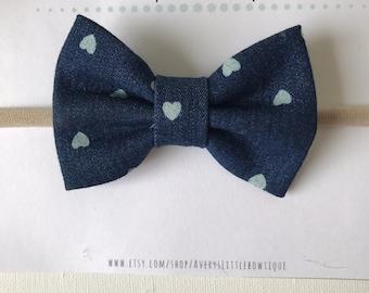 "Denim headband or bow tie - Baby Bows- 3"" Denim Bowtie - Nylon Headband - bowies for boys - one size fits all - heart print"