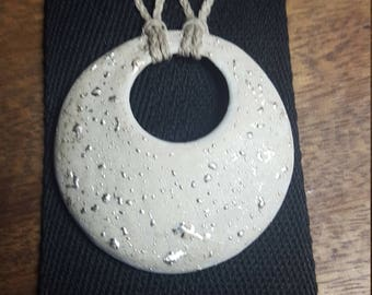 Silver - collar pendant porcelain and silver rain