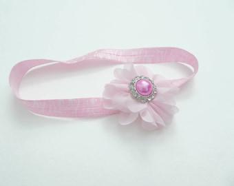 daisy headband || baby headband || pink headband || baby girl