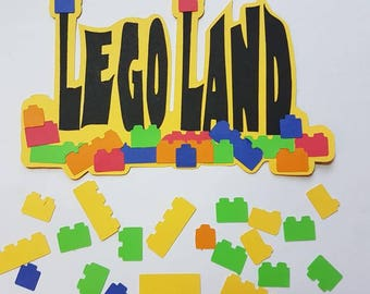 Lego land  die cut title for scrapbooking