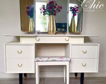 G plan, shabby chic, hand painted cream dressing table triple mirror and stool