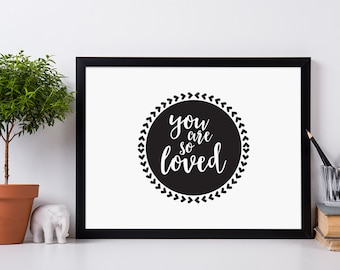 You are so Loved Framed Digital print, Circle and Hearts, Love, Badge Design, Nursery Wall Art, Special Someone